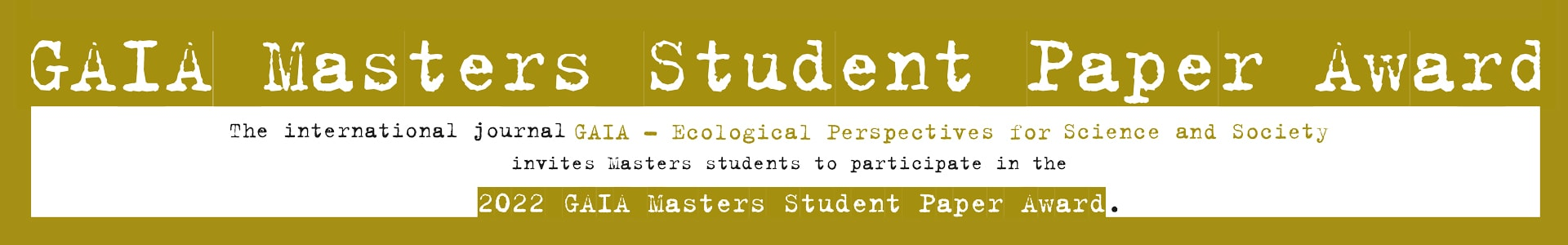 Call for participation GAIA Masters Student Paper Award