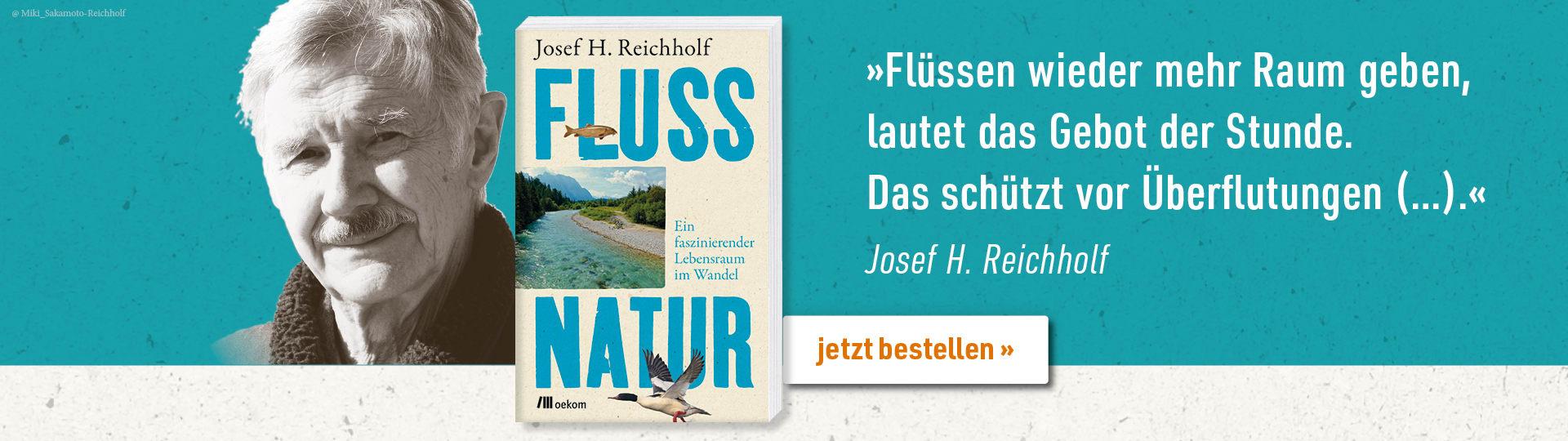 Werbebanner zu Josef Reichholfs Buch »Flussnatur«