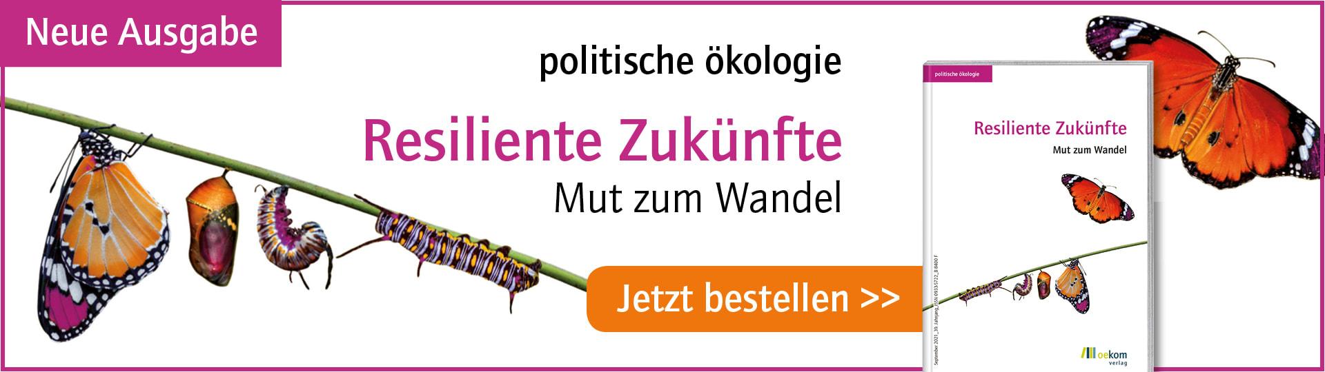 Werbebanner zur neuen Ausgabe der Zeitschrift politische ökologie