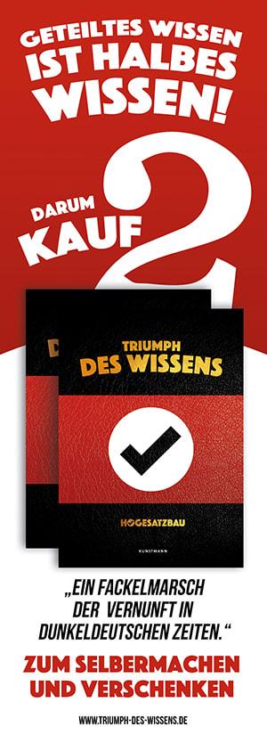 "Cover Streifenplakat ""Triumph des Wissens"""