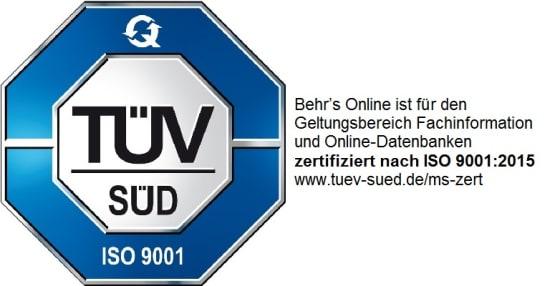 BEHR'S…ONLINE ist zertifiziert nach ISO 9001:2015