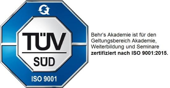 BEHR'S AKADEMIE zertifiziert nach ISO 9001:2015