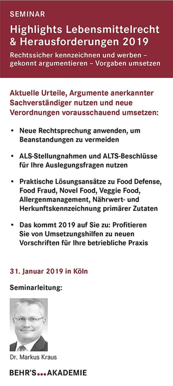 Highlights Lebensmittelrecht