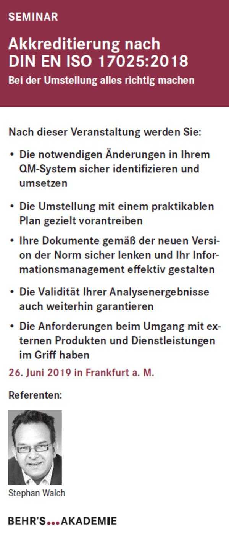 Akkreditierung nach DIN EN ISO 17025:2018