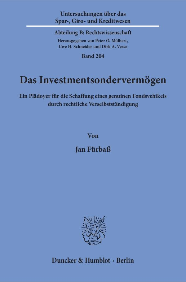 Das Investmentsondervermögen | Duncker & Humblot