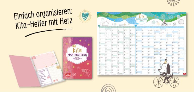 Die Kita Planer: Gruppentagebuch, Wandkalender für das Kitajahr 2021/22, Tischkalender und Sticky notes. Jetzt praktische und gute Planungshilfen mit Herz bestellen.