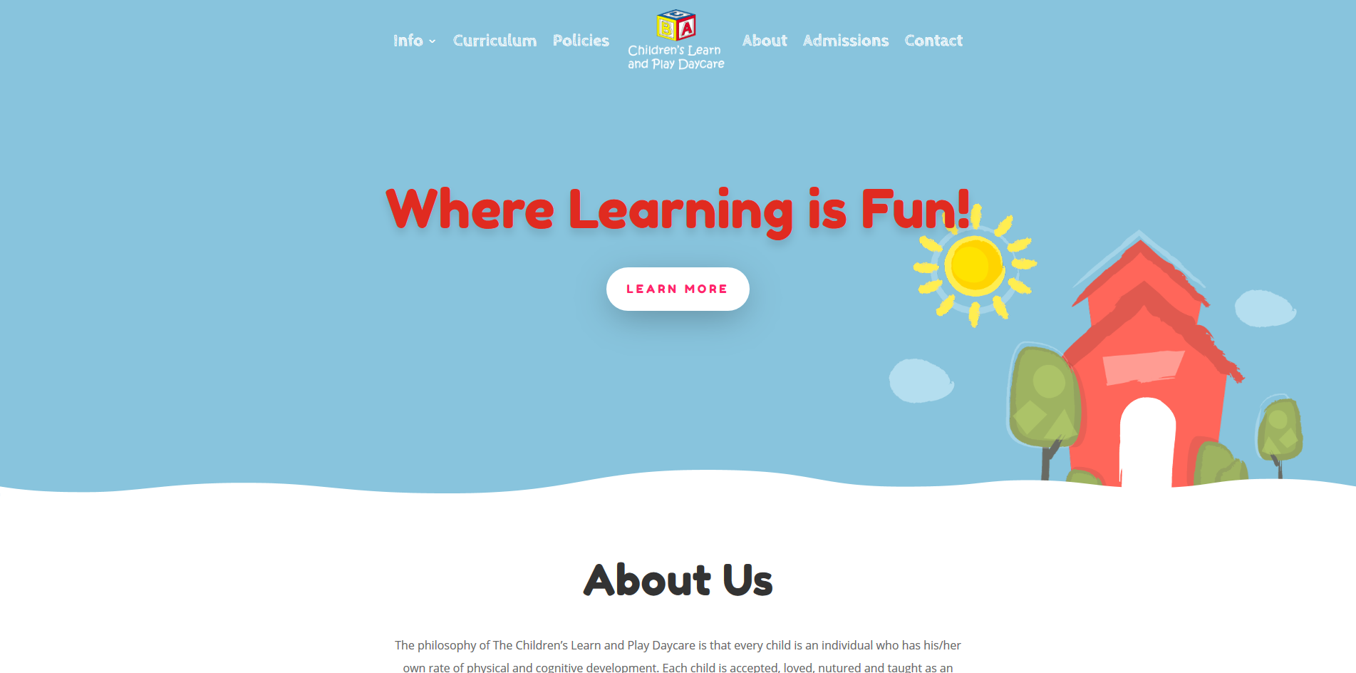 Home page for childrenslearnandplay.pappasportfolio.com