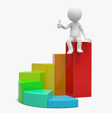 3d person icon sitting on top of a growth chart