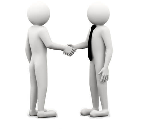 two 3d people icons shaking hands