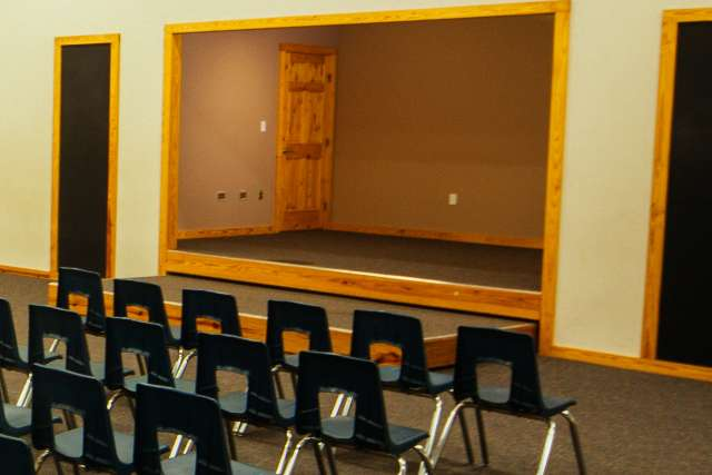 Meeting room with stage for speaking