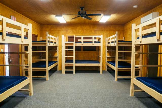 Interior of bunk bed-style room