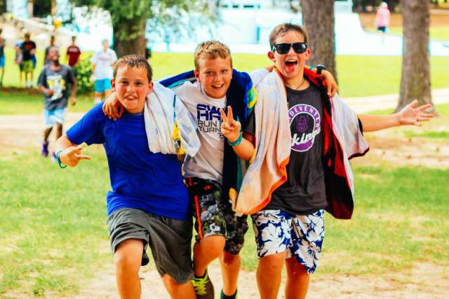 Junior high campers enjoying free time at summer camp