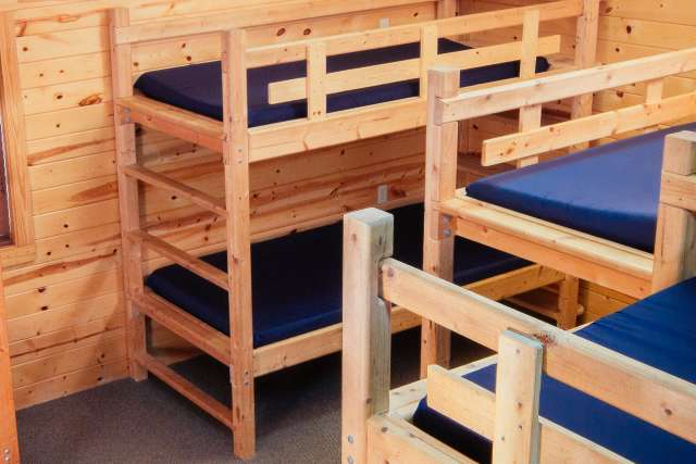 Bunk beds in a cabin at the Timbers