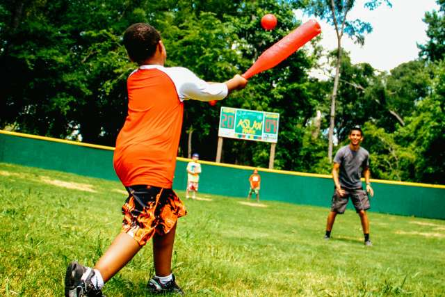 campers playing wiffle ball