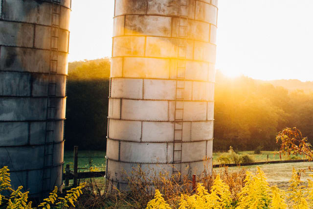 Chimney Point silos at sunset