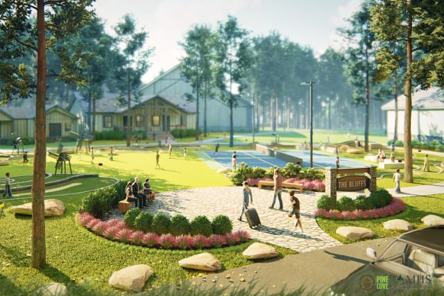 Rendering of new entrance to the Pine Cove Bluffs