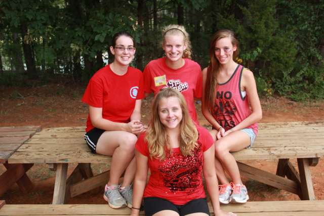 Counselor with Family Camp Girls