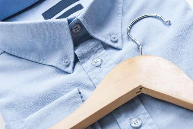 blue shirt and hanger