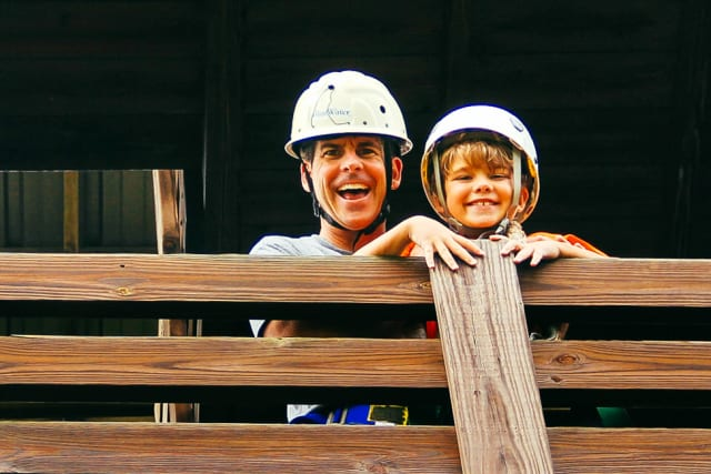 Father and son at the barn