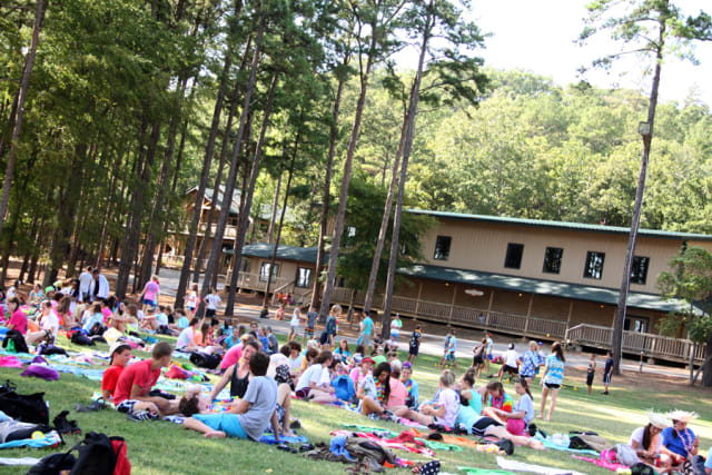 Campers on the lawn