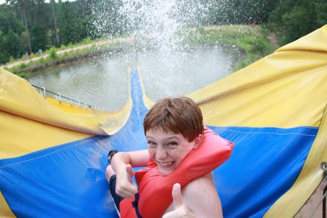 Camper going down waterslide