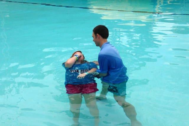 Bunga Baptizing a Camper