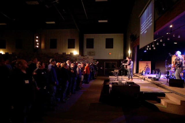 Men Worshipping at Pine Cove Weekend