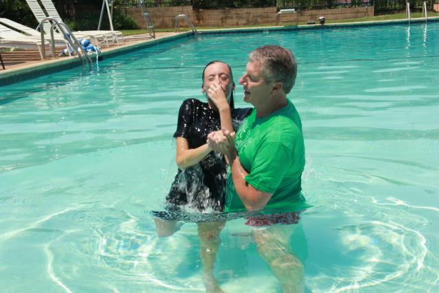 Baptism at Pine Cove Camp Pool