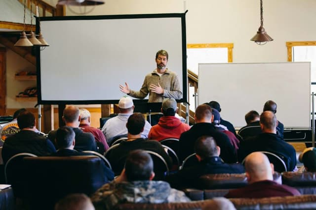 Matt Lantz speaking at Pine Cove Men