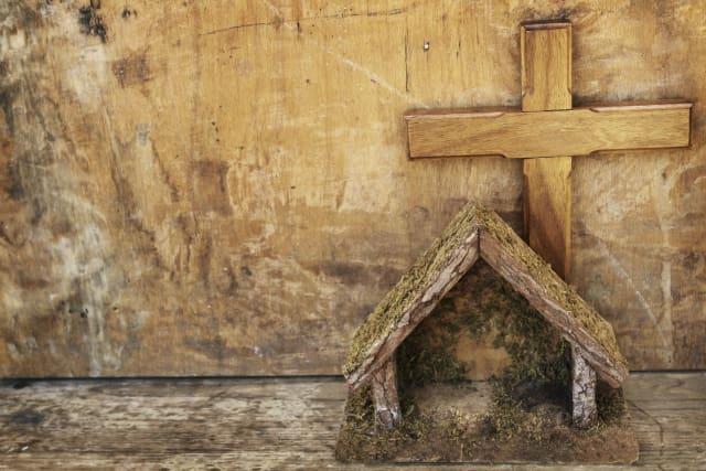 Wood Cross and Wood Nativity