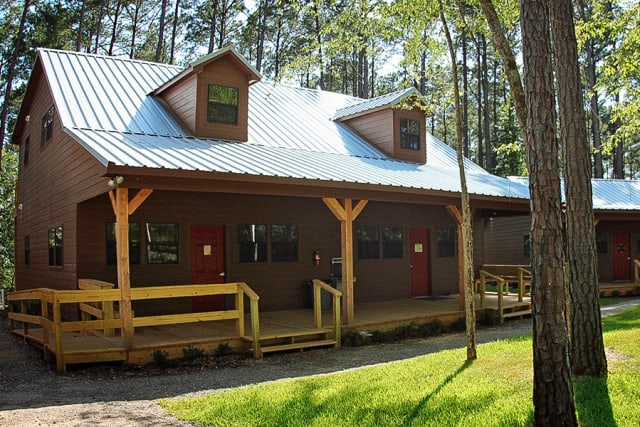 Exterior of bunk bed style cabin in East Texas.
