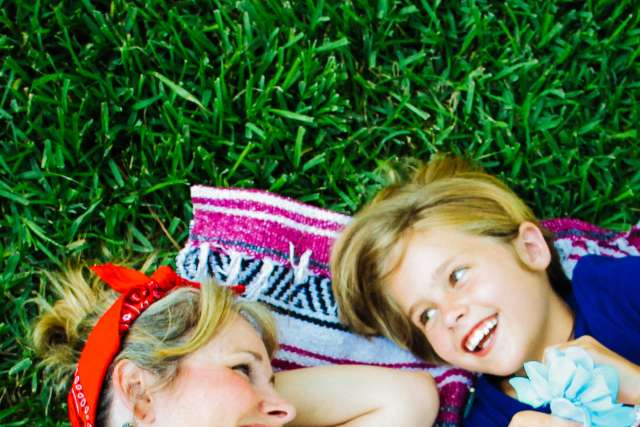 Mother and daughter enjoying freetime at family camp