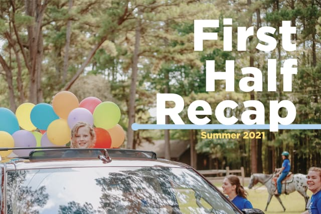 A camper arrives at Pine Cove in a car decorated with balloons
