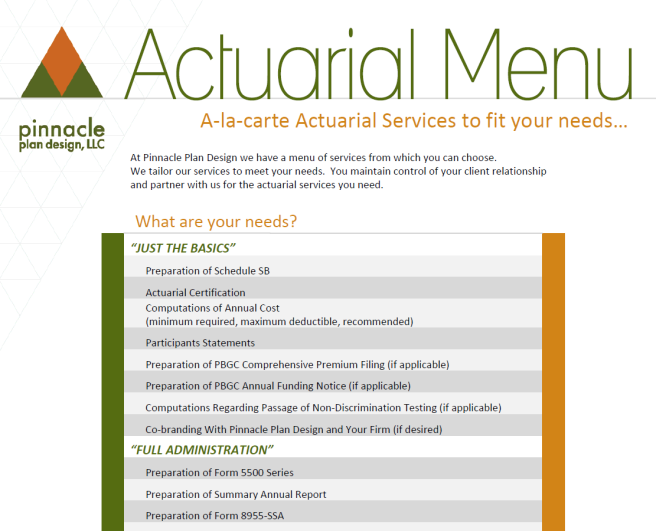 View our Actuarial Menu