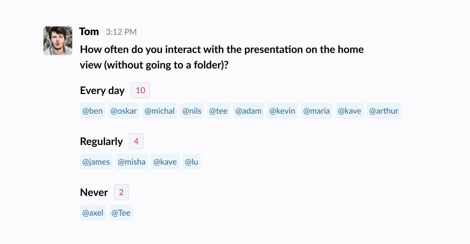 Using polls in Slack for design feedback