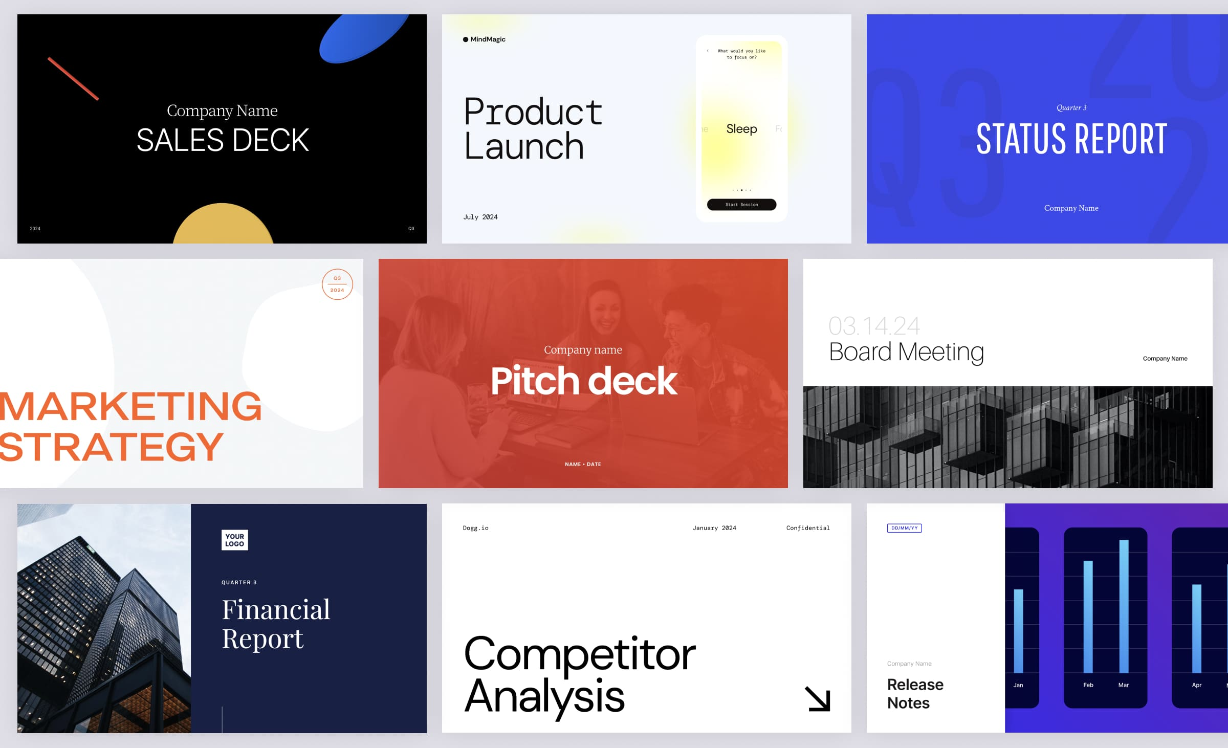 Pitch template gallery for pitch decks