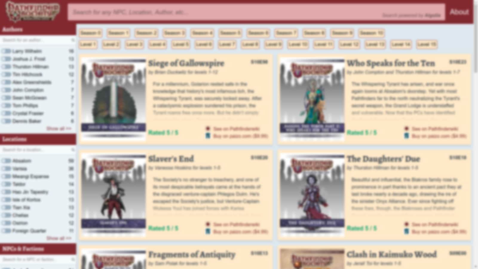 Pathfinder Society Search