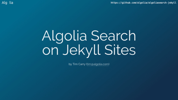 Algolia Search on Jekyll Sites
