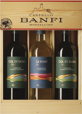 Banfi giftpack. In wooden box Red 2x75 cl. + White 1x75 cl. - Alc. 13,5% Vol.