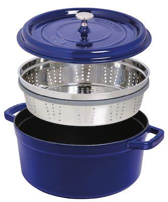 Staub Round Cocotte w/ Steamer 5.2 ltr/26 cm Dark Blue