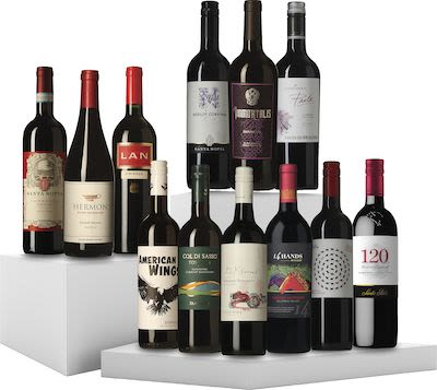 12 Bottles Tasting Box Various Countries Red Wine 12x75 cl. In gift box.