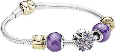 Pandora Two-tone Bracelet w/Purple Charm Set