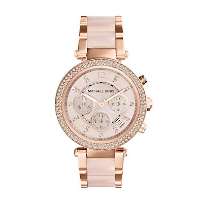 Michael Kors Ladies' Parker Rose Gold-Tone Blush Acetate Watch