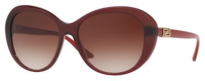 Versace Women's Pop Chic Grecca Strass Sunglasses Dark Red
