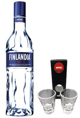 Finlandia Vodka 100 cl. Alc. 50.5% Vol. w/ 2 FREE original shot glasses