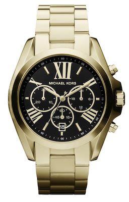 Michael Kors Ladies' Bradshaw Black Dial Gold-Tone Watch