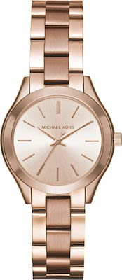 Michael Kors Ladies' Mini Slim Runway Rose Gold-Tone Watch