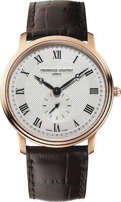 Frederique Constant Gent's Slimline Rose Gold Plated Leather Watch
