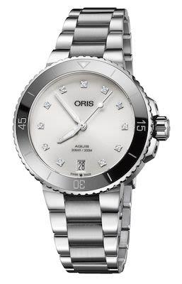 Oris Aquis Ladies Date Watch, Silver