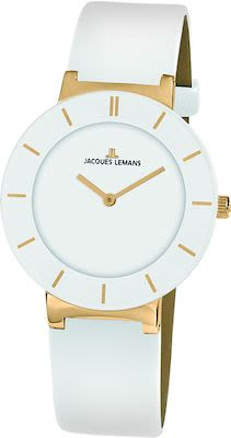 J.L. Ladies' Classic Monaco Watch White/IP-gold